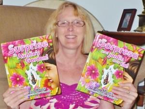 Ann Morris Holding her Books