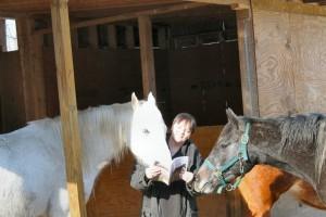 Marta Moran Bishop Reading to her Horses